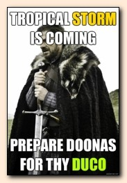Tropical Storm is coming, prepare doonas for thy Duco